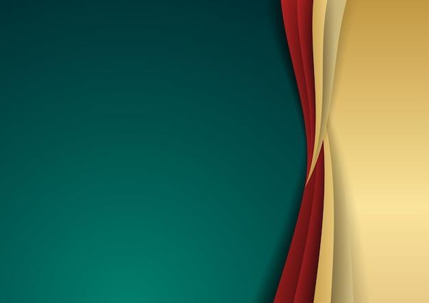 Camada de sobreposição de luxo abstrato verde escuro com elementos de decoração de formas douradas e vermelhas. adequado para plano de fundo de apresentação, banner, página de destino da web, interface do usuário, aplicativo móvel, design editorial, folheto, banner