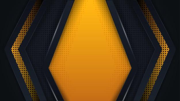 Camada de sobreposição de triângulo de vetor de fundo moderno em amarelo escuro e preto com design de estilo abstrato