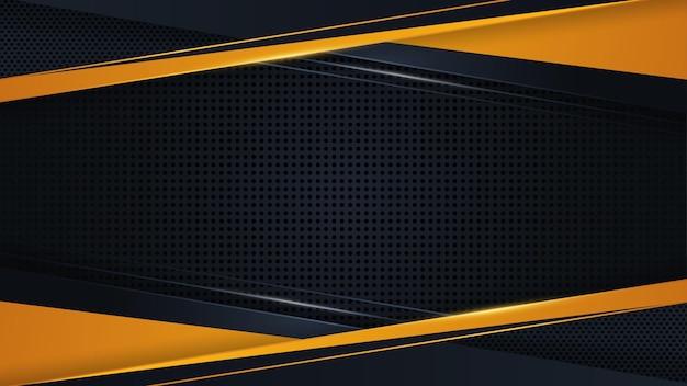 Camada de sobreposição de vetor de fundo de luxo moderno em amarelo geométrico e design de estilo abstrato escuro