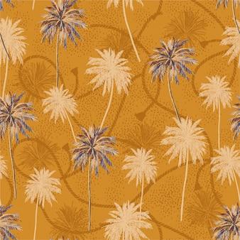 Camada tropical retro à moda da árvore do plam no humor do verão da textura da corda do marinheiro.