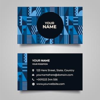 Camadas azuis clássicas de formas geométricas cartão de visitas