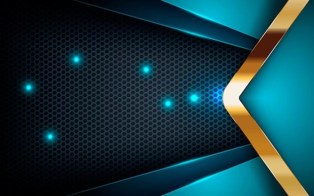 Camadas azuis no hexágono escuro com lista de ouro