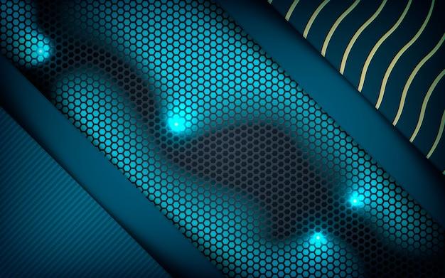 Camadas azuis realistas no fundo do hexágono