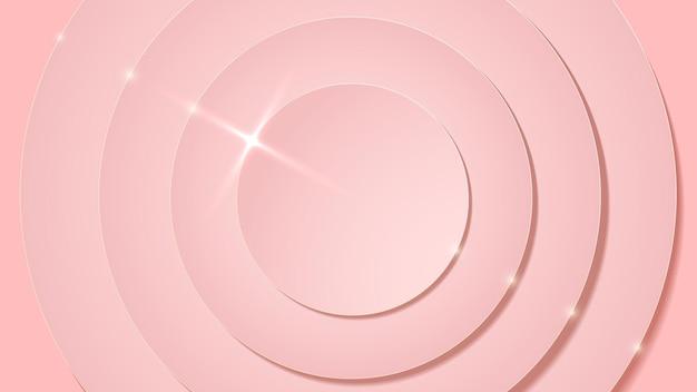 Camadas de círculo rosa rosa e fundo abstrato de luxo brilhante