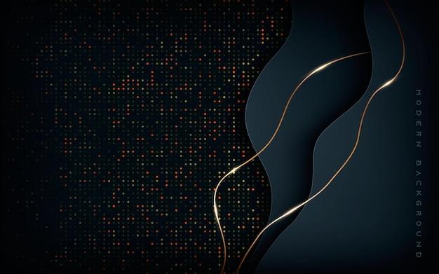 Camadas de dimensão abstrata em preto com linha dourada