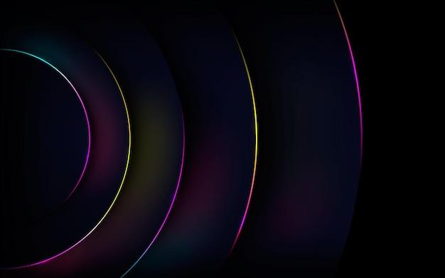 Camadas de dimensão de círculo abstrato com luz de fundo colorida