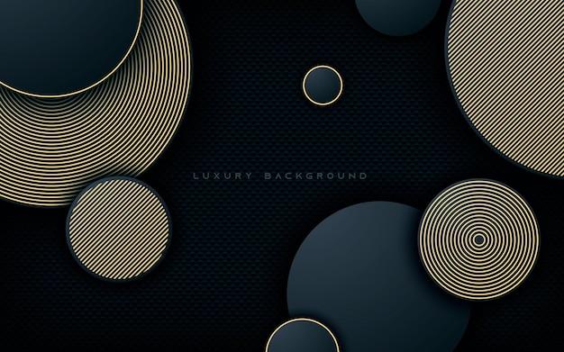 Camadas de dimensão de círculo de luxo com fundo de decoração de linha dourada