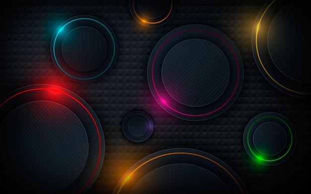 Camadas de dimensão de círculo modernas, decoração de luz colorida de fundo