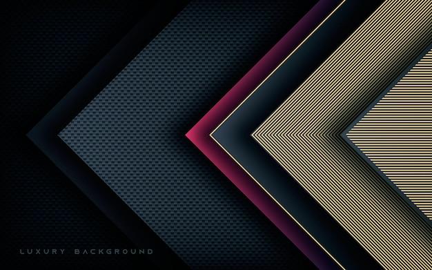 Camadas de dimensão de seta de luxo com fundo de decoração de linha dourada