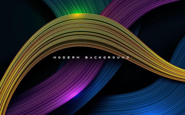 Camadas de dimensão dinâmica colorida com efeito de linha de fundo