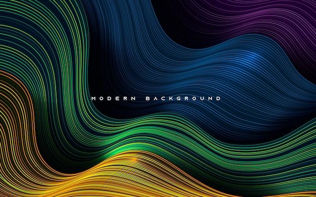 Camadas de dimensão dinâmica colorida de fundo de linha ondulada
