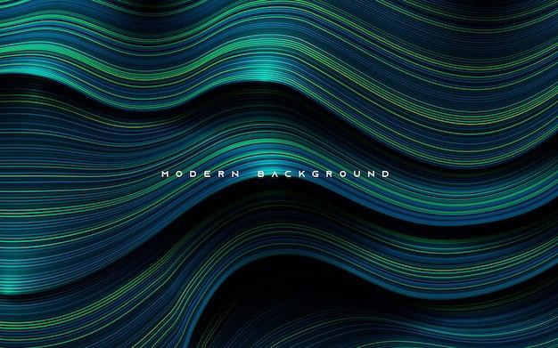 Camadas de dimensão dinâmica com fundo de linha azul e verde