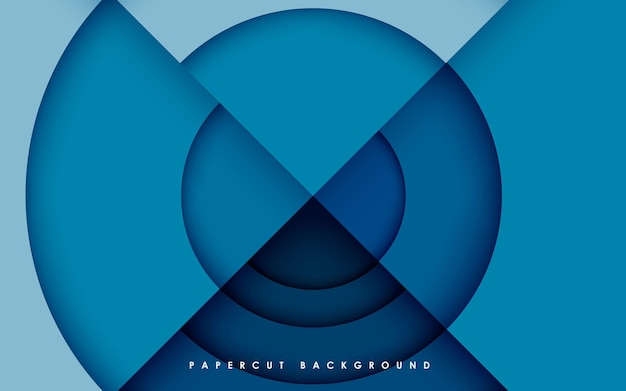 Camadas de forma de círculo azul de fundo de dimensão abstrata