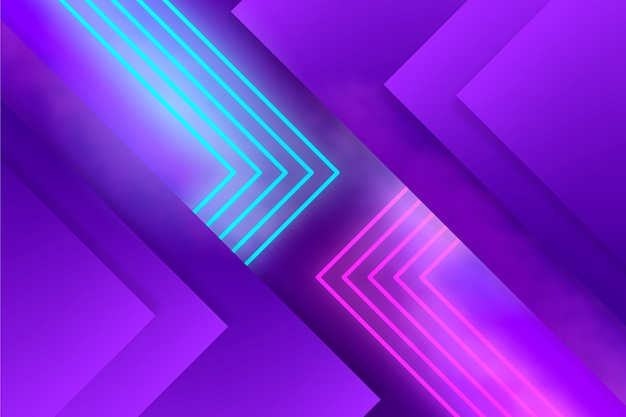 Camadas de formas geométricas e luzes de neon