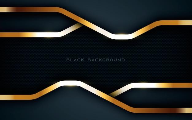 Camadas de fundo preto moderno abstrato dimensão luz cintilante lista dourada
