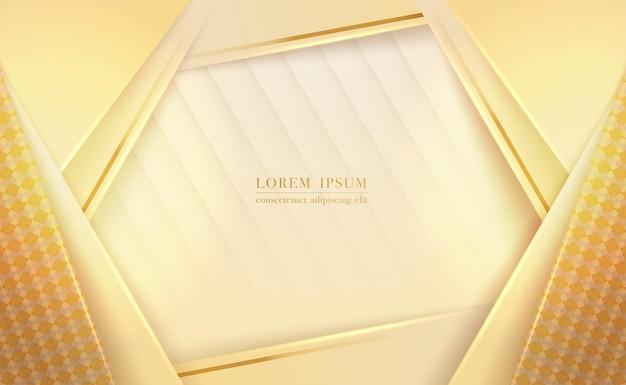 Camadas de papel amarelas abstratas e fundo geométrico de linha dourada