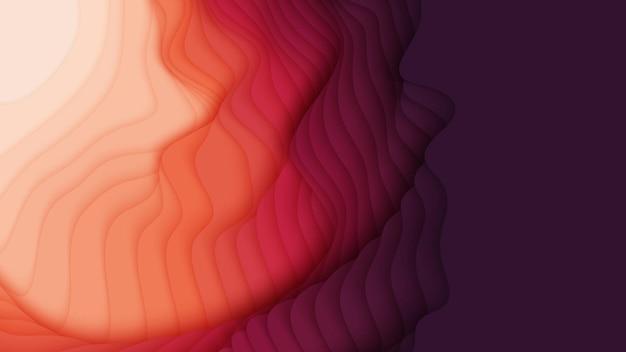 Camadas de papel vermelho a rosa. corte de papel gradiente abstrato 3d.