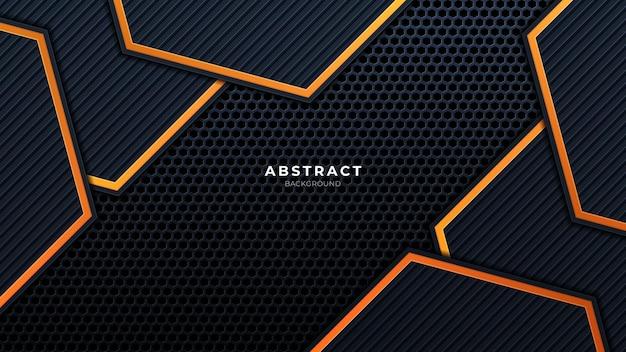 Camadas de sobreposição de fundo de tecnologia 3d preto abstrato em espaço escuro com decoração de efeito de luz laranja. elementos do modelo de design gráfico moderno para cartaz, folheto, brochura ou banner