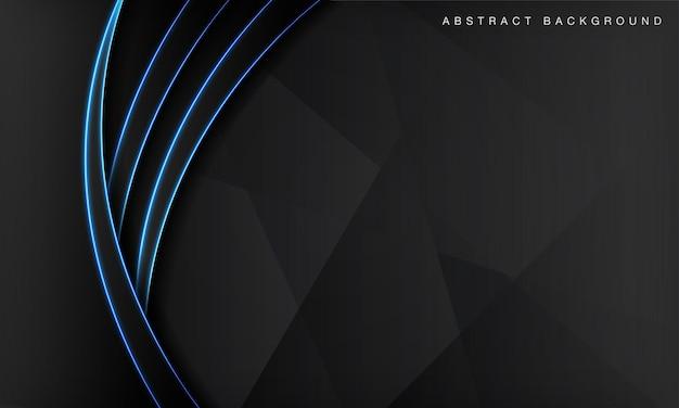 Camadas de sobreposição de fundo de tecnologia abstrata de onda negra no espaço escuro com efeito de luz neon azul