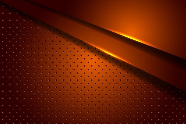 Camadas de sobreposição de luz laranja escura abstrata com padrão de círculo, fundo futurista de luxo moderno