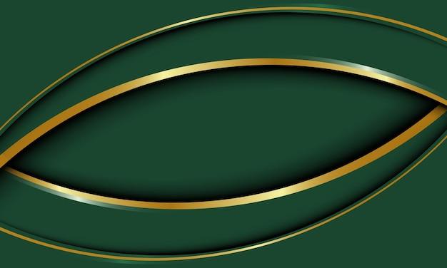 Camadas de sobreposição geométricas curvas verdes abstratas com fundo de linha dourada