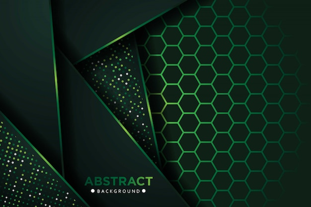 Camadas de sobreposição verde escura abstrata com fundo de padrão de malha hexágono