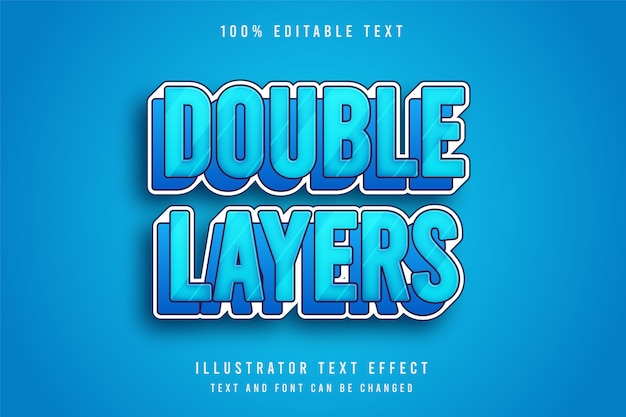 Camadas duplas, efeito de texto editável 3d, camadas de gradação azul e efeito de estilo cômico
