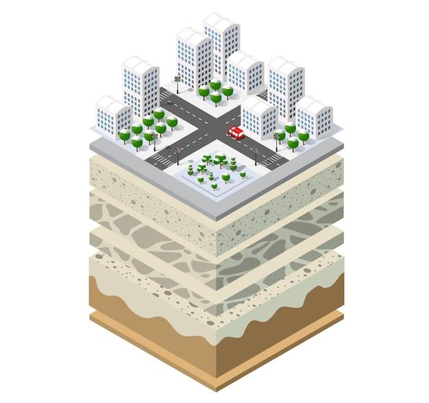 Camadas geológicas e subterrâneas de solo sob a fatia isométrica da paisagem natural