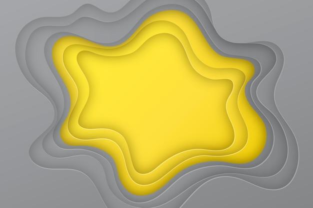 Camadas onduladas de fundo em estilo papel amarelo e cinza