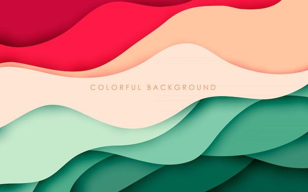 Camadas onduladas dinâmicas coloridas de fundo recortado em papel abstrato