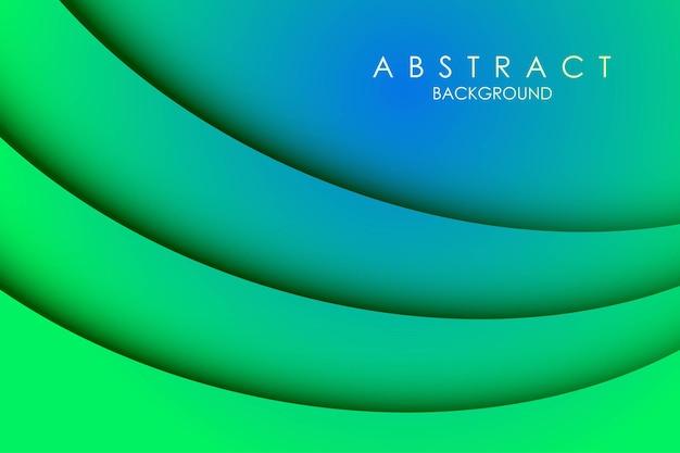 Camadas recortadas de papel coloridas verdes 3d abstratas curva de fundo