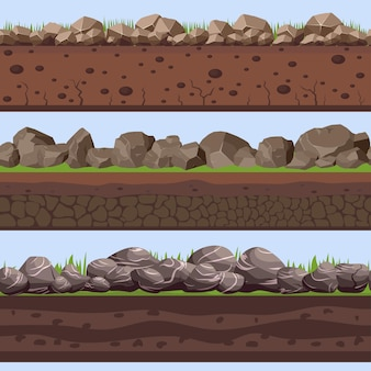 Camadas sem costura do solo com pedra rock