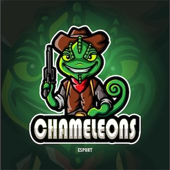 Camaleão coboy mascote esport logotipo