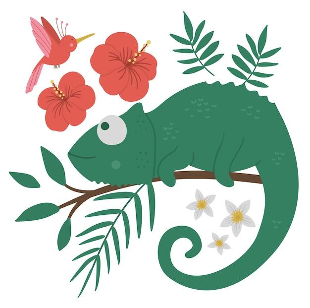 Camaleão fofo em uma árvore de brunch com folhas e flores e pássaro do paraíso