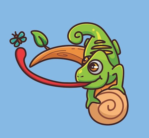 Camaleão fofo pegando um inseto no galho. conceito da natureza animal dos desenhos animados ilustração isolada. estilo simples adequado para vetor de logotipo premium de design de ícone de etiqueta. personagem mascote