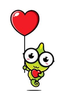 Camaleão fofo voando com balão do amor