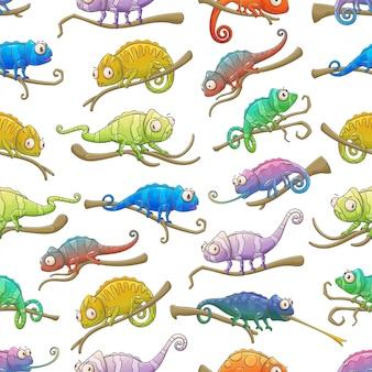 Camaleão lagarto animais sem costura padrão