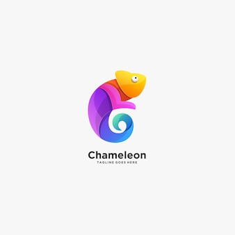 Camaleão pose gradiente colorido