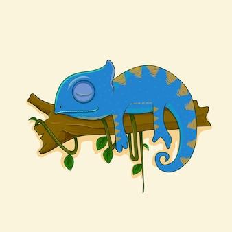 Camaleão preguiçoso dormindo em um galho de desenho animado vetor premium