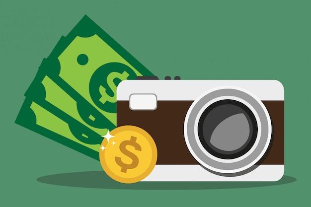 Câmara fotográfica e dinheiro