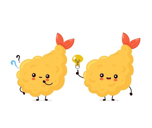 Camarão engraçado feliz fofo tempura com ponto de interrogação e lâmpada de ideia. desenho animado personagem ilustração ícone do design.