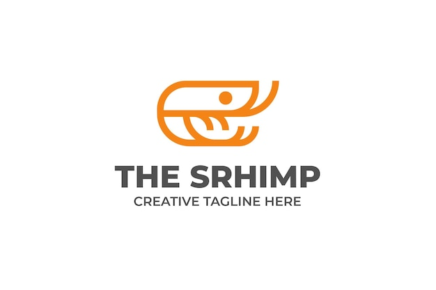 Camarão lagosta frutos do mar frescos logotipo monoline