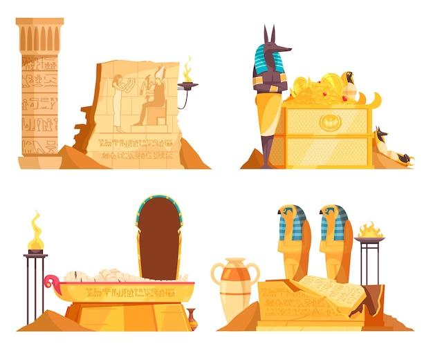 Câmaras funerárias egípcias mercadorias caixão tumba oferendas de deus após a morte gravura de parede fogo ritual