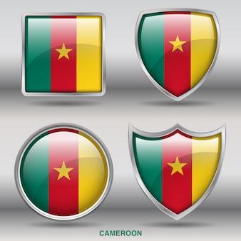 Camarões bandeira chanfro 4 formas ícone