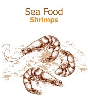 Camarões mar comida linha arte
