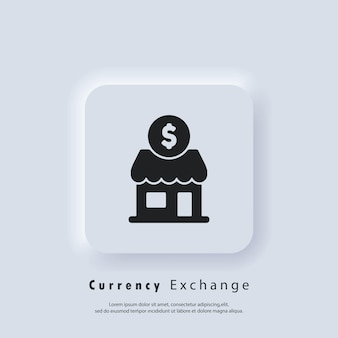 Câmbio monetário. vetor. ícone da interface do usuário. botão da web da interface de usuário branco neumorphic ui ux. neumorfismo