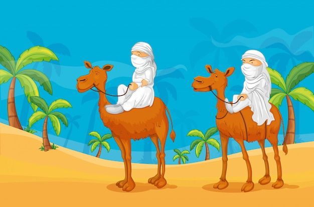 Camelo e árabes