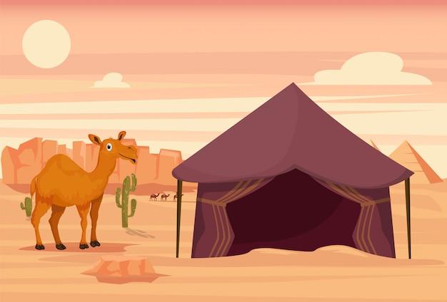Camelo e tenda no deserto