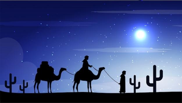 Camelos na lua da noite no deserto