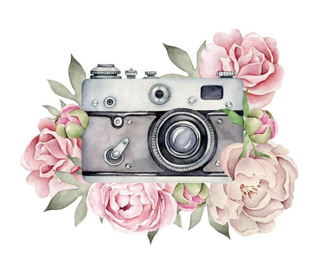 Câmera aquarela com composição de flores